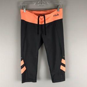 Fila sport Capri running leggings grey orange S